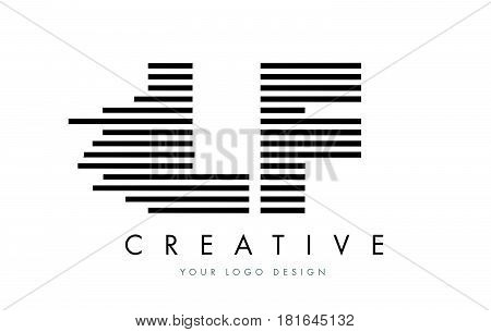 Lf L F Zebra Letter Logo Design With Black And White Stripes