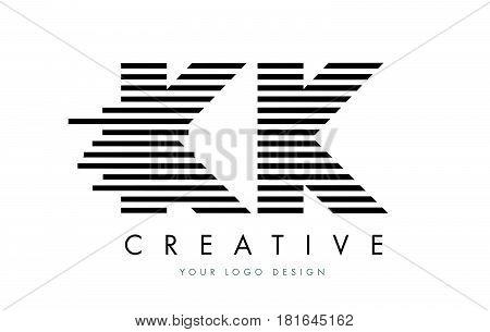 Kk K K Zebra Letter Logo Design With Black And White Stripes
