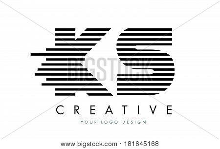 Ks K S Zebra Letter Logo Design With Black And White Stripes