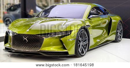 Bologna italy December 3 2016: A green DS E-Tense french sport car model