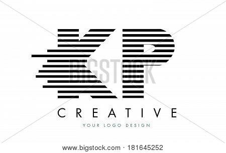 Kp K P Zebra Letter Logo Design With Black And White Stripes