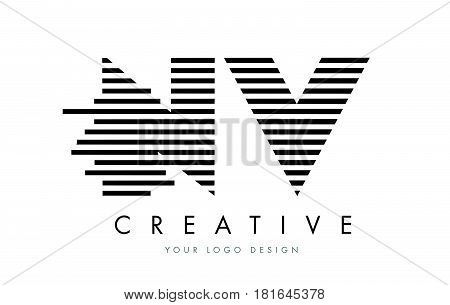 Nv N V Zebra Letter Logo Design With Black And White Stripes