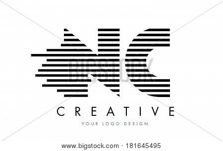 Nc N C Zebra Letter Logo Design With Black And White Stripes