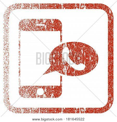 Smartphone Call Balloon textured icon for overlay watermark stamps. Red vectorized texture. Flat red vector symbol with dust design inside rounded square frame. Framed rubber seal stamp imitation.