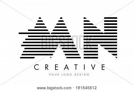 Mn M N Zebra Letter Logo Design With Black And White Stripes