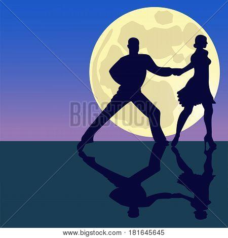 Latina dancing silhouettes in moonlight. Full supermoon. Vector illustration.