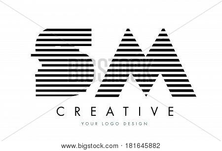 Sm S M Zebra Letter Logo Design With Black And White Stripes