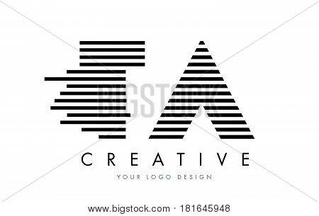 Ta T A Zebra Letter Logo Design With Black And White Stripes
