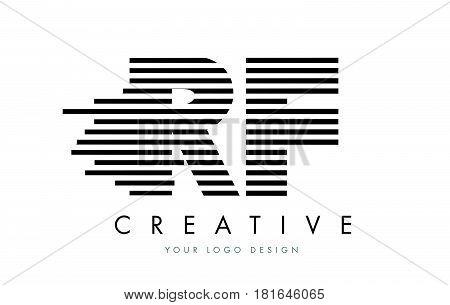 Rf R F Zebra Letter Logo Design With Black And White Stripes
