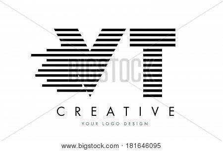 Vt V T Zebra Letter Logo Design With Black And White Stripes
