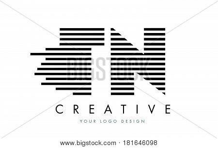 Tn T N Zebra Letter Logo Design With Black And White Stripes