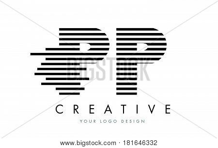 Pp P Zebra Letter Logo Design With Black And White Stripes