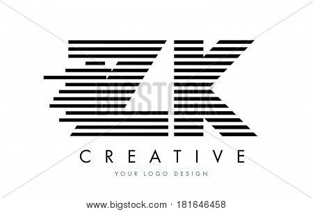 Zk Z K Zebra Letter Logo Design With Black And White Stripes