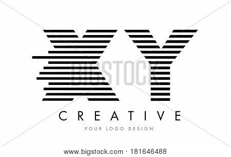 Xy X Y Zebra Letter Logo Design With Black And White Stripes