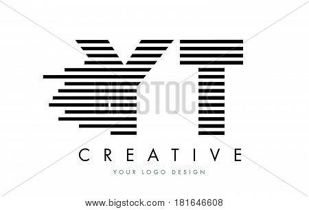 Yt Y T Zebra Letter Logo Design With Black And White Stripes