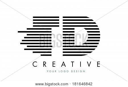 Td T D Zebra Letter Logo Design With Black And White Stripes