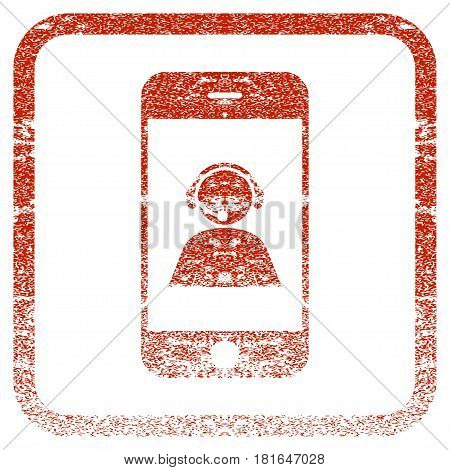 Smartphone Operator Contact Portrait textured icon for overlay watermark stamps. Red vectorized texture. Flat red vector symbol with dirty design inside rounded square frame.