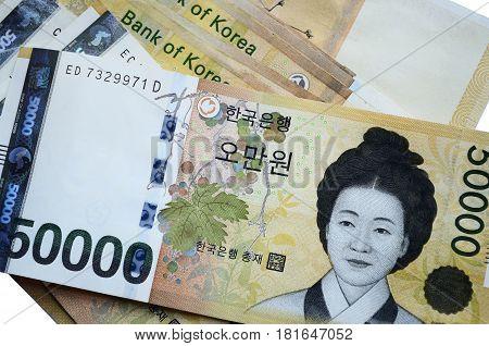 Full Frame Image Of South Korean Currency 50000 Korean Won
