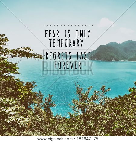 Inspiration and motivation quotes- Fear is only temporary regrets last forever retro styled.