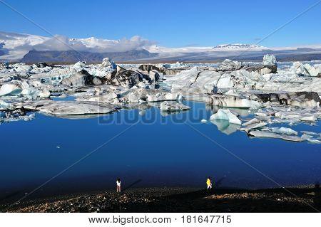 Jokulsarlon lagoon icebergs in the early morning. Jokulsarlon lagoon is located in Vatnajokull national park.