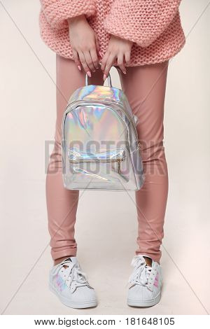 Teen Girl Accessories, Young Stylish Beautiful Woman Wearing Pink Pants And Sweater, Holding Backpac
