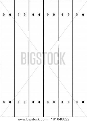 A fence made of softwood planks in white showing nails