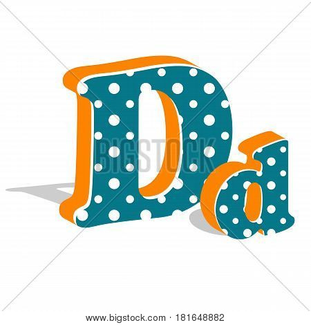 Capital and numeric cute dotted 3d letter D isolated on white background. Vector illustration. Element for design. Kids alphabet.