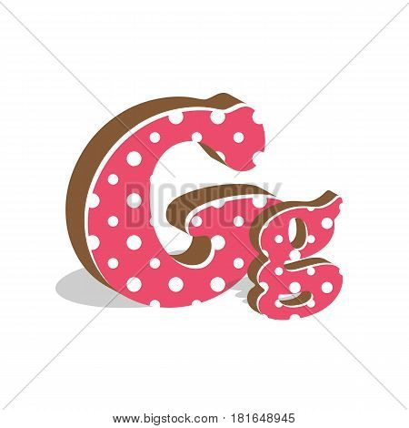 Capital and numeric cute dotted 3d letter G isolated on white background. Vector illustration. Element for design. Kids alphabet.