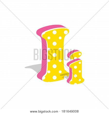 Capital and numeric cute dotted 3d letter I isolated on white background. Vector illustration. Element for design. Kids alphabet.