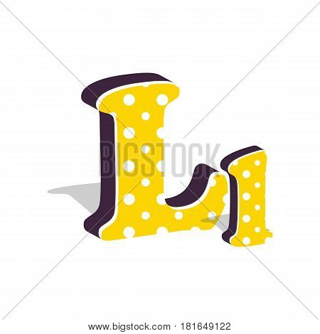 Capital and numeric cute dotted 3d letter L isolated on white background. Vector illustration. Element for design. Kids alphabet.