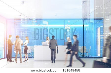 Front view of businesspeople passing by a reception counter in an office with blue walls. 3d rendering toned image double exposure