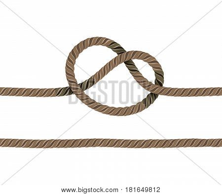 Rope is Knotted and a Straight Rope. Objects on a White Background. Ropes are Joined to Each Other.