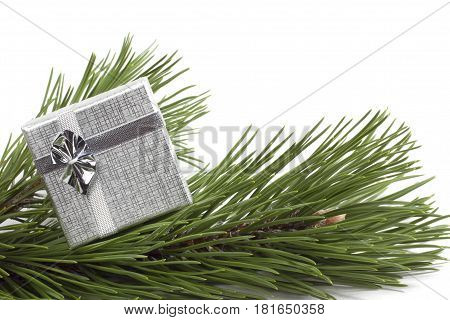 Silver gift on the scpuce white background
