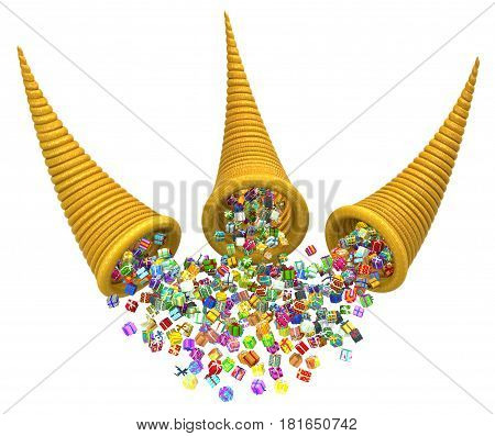 Gift boxes large group cornucopias 3d illustration horizontal isolated over white