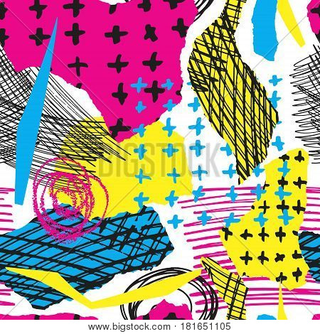 Vector colorful seamless pattern with brush strokes and cross. Pink blue yellow black color on white background. Hand painted grange texture. Ink geometric elements. Fashion modern style. bright.