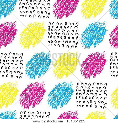 Vector colorful seamless pattern with brush blots and wave. Pink blue yellow black color on white background. Hand painted grange texture. Ink geometric elements. Fashion modern style. bright.