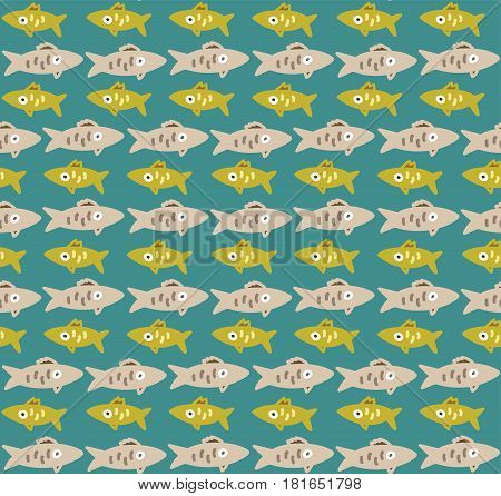 Cute seamless pattern with yellow and gray rows of fishes