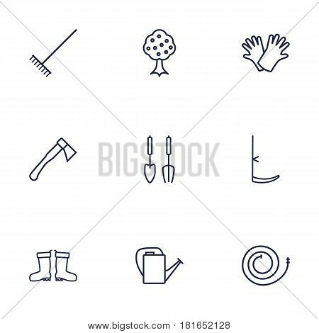 Set Of 9 Farm Outline Icons Set.Collection Of Instruments, Hatchet, Safer Of Hand Elements.