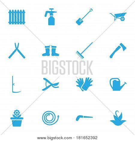 Set Of 16 Household Icons Set.Collection Of Scissors, Rake, Spray Bootle And Other Elements.
