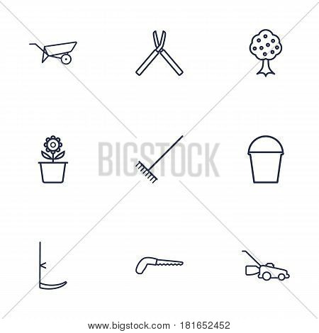 Set Of 9 Farm Outline Icons Set.Collection Of Garden, Scythe, Plant Pot And Other Elements.