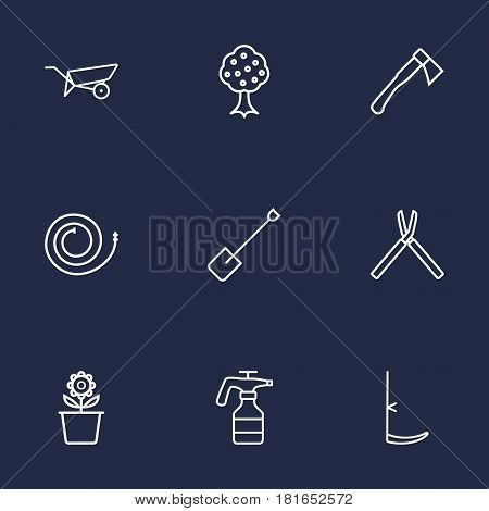 Set Of 9 Farm Outline Icons Set.Collection Of Plant Pot, Firehose, Garden And Other Elements.