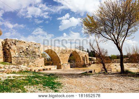 Turkey, Antalya, near Aspendos, late Roman bridge over the river Eurymedon (modern Koprucay) river.