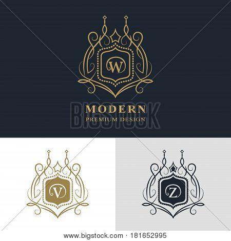 Monogram design elements graceful template. Calligraphic elegant line art logo design. Letter emblem sign W V Z for Royalty business card Boutique Hotel Heraldic Jewelry. Vector illustration