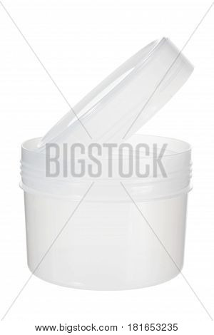Small Round Plastic Jar on White Background