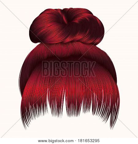 bun  hairs with fringe  Red colors . women fashion beauty style .