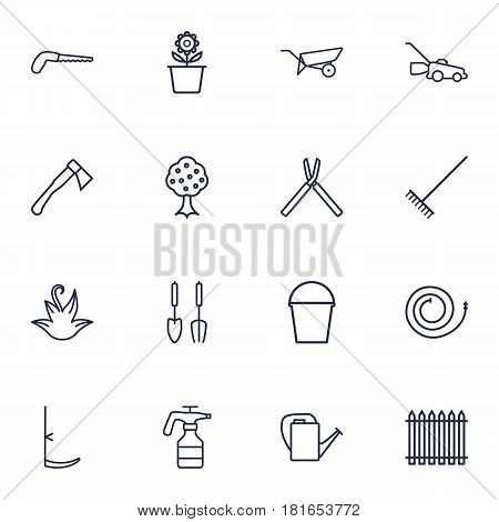Set Of 16 Horticulture Outline Icons Set.Collection Of Plant Pot, Firehose, Harrow And Other Elements.