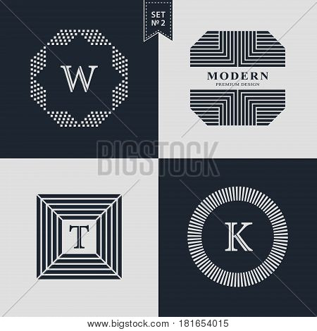 Design Templates Set. Logotypes elements collection Icons Symbols Retro Labels Badges Silhouettes. Abstract logo Letter W T K emblems. Premium Collection. Vector illustration