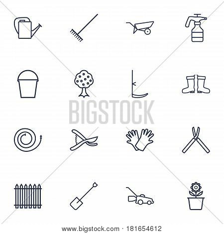 Set Of 16 Household Outline Icons Set.Collection Of Garden, Grass-Cutter, Harrow And Other Elements.