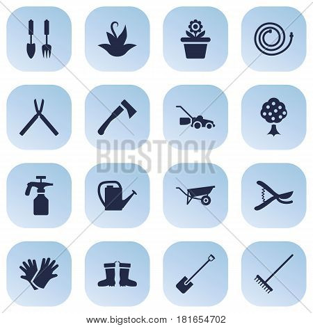 Set Of 16 Household Icons Set.Collection Of Rubber Boots, Flowerpot, Wheelbarrow And Other Elements.