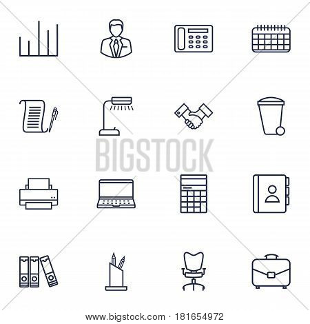 Set Of 16 Bureau Outline Icons Set.Collection Of Telephone Directory, Document Case, Workplace And Other Elements.